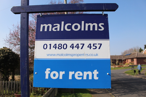 Malcolms Estate Agents 'For Rent' Board