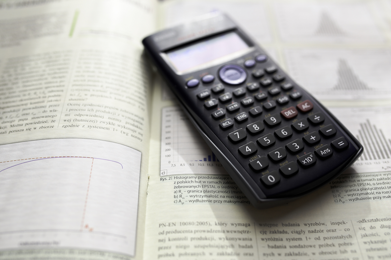 Scientific calculator on textbook